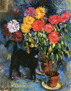 Nicolas Tarkhoff - Dahlias and Black Cat