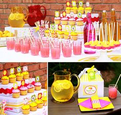 Lemonade/Summer Party Idea. Love the pink lemonade in mason jars with yellow straws. Can't wait for summer deck parties!
