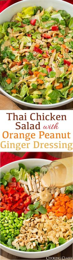 Thai Chicken Salad with Orange Peanut Dressing - this salad was seriously delicious! I'm going to crave it all the time now! Romaine grilled chicken edamame red bell carrots cashews cilantro and wonton strips with an amazing peanut dressing! Thai Chicken Salad, Grilled Chicken, Quorn Chicken, Healthy Chicken, Comidas Light, Wonton Strips, Asian Recipes, Healthy Recipes, Thai Recipes