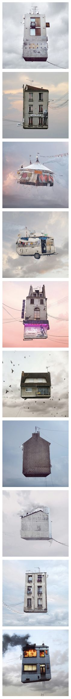 "Paris-based art director-turn-photographer Laurent Chéhère has created a series of whimsical photographs featuring buildings that appear to be flying.  Inspired by ""Le Ballon Rouge""—a 1956 French children's short film—the part-analog and part-digital images are rendered in the same muted post-war color palette as the film."