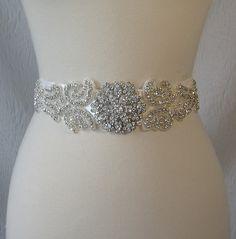 Crystal Rhinestone Bridal Sash, Wedding Belt, Ivory Bridal Sash - CASSIOPEIA. $136.00, via Etsy.