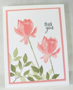 A card for my stamp club featuring the beautiful floral image from the Sale-a-Bration set, Lotus Blossom.  I also pulled out a very old set from a past SAB, called Best Blossoms for the foliage at the base of the card.