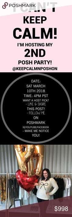 Party Time! Show Me Your Best Plus Size! Whoop! OMG, how lucky am I?! Two time's a charm! No this Brit cannot keep calm!  Date: Sat March 10th Time: 4pm PT  I must find 100 Host Picks (posh compliant closets only & fab photos please)! Here's how to get my attention...  - Follow me on Posh/Instagram/YouTube/Facebook etc. (link@ topofcloset) - Like & share this post! - Share my closet! - If you've never had a Host Pick lmk below! - Tag/direct share 3 of your best items to me (MAX 3 please)…
