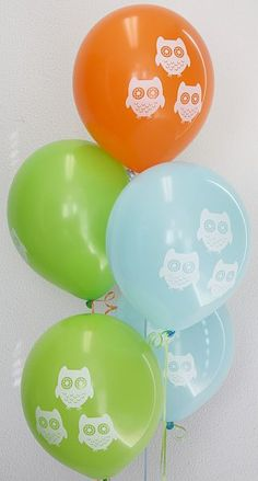 Light Blue, Lime and Orange. asst : Party Supplies for Sale : Lets Celebrate Parties Owl Balloons, Orange Balloons, Latex Balloons, Owl Parties, Owl Birthday Parties, Boy Birthday, Birthday Ideas, Baby Shower Games, Baby Boy Shower