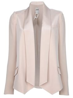 Nude silk crepe blazer from Haute Hippie featuring no fastening, fold back rever collar, 2 front flap pockets, back split vent and long sleeves with buttoned cuffs.