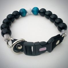 Black with Turquoise Beaded  Dog Collars Buckle by Beadie Babies