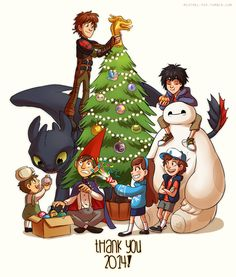 Merry Christmas!! (Now,where do I pin it!! Movies? Toons? Both? | HTTYD | Toothless | Hiccups | Big Hero 6 | Baymax | Hiro | OTGW | Greg | Wirt | Gravity Falls | Mabel | Dipper