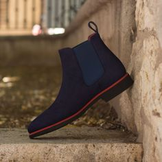 The Chelsea Boot Classic in Navy Blue Kid Suede - Robert August Apparel - Handcrafted Custom Made Shoes From Robert August. Create your own custom designed shoes.