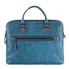 Piquadro TAO Aktentasche mit Doppelgriff und zwei Fächern und Laptop-Fach blue oil