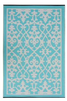 INDOOR OUTDOOR PATIO RUG CREAM & TURQUOISE - RECYCLED, NATURAL, EARTH FRIENDLY