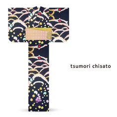 2016 Summer tsumori chisato Yukata Navy Blue Grape Cat