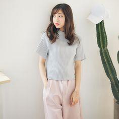 Korean Fashion -  Round neck striped knit top - AddOneClothing - 1
