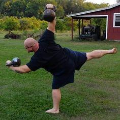 Advanced kettlebell yoga pose! Very hard!