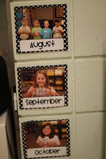 A cute way to display birthdays---using their picture and the date for each month