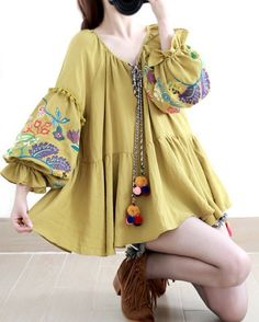 Woman cotton linen embroidered sleeves mustard by QuadHappiness