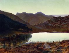 The Athenaeum - Blea Tarn, First LIght, Langdale Pikes in the Distance (John Atkinson Grimshaw - )