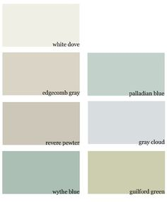 final paint colors for our new house :: benjamin moore white dove, edgecomb gray, revere pewter, wythe blue, palladian blue, gray cloud, guilford green