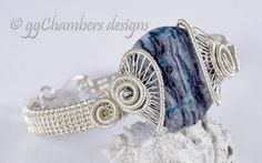 Sterling Silver Wire Helix Series Bracelet with Blue Laguna Lace Agate - On Sale!