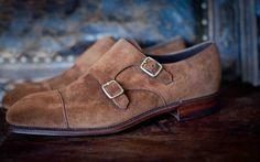 Suede double monk, by Carmina. Suede Shoes, Men's Shoes, Shoe Boots, Dress Shoes, Leather Shoes, Double Monk Strap Shoes, Men's Fashion Brands, Mens Fashion Shoes, Male Fashion