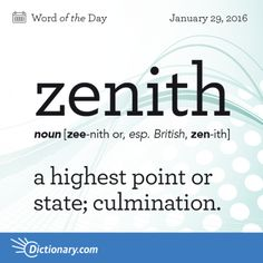 Zenith - 1. a highest point or state, culmination. 2. the point on the celestial sphere vertically above a given position or observer.