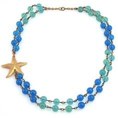 Manic Trout Turquoise and Aqua Starfish Necklace (Ocean Waltz Necklace)
