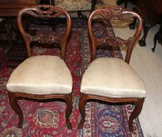 Delightful Beautiful Pair Of Carved French Antique Oak Louis XV Chairs | EBay