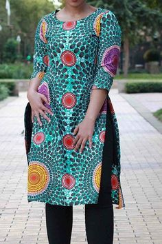 Three-Quarter Sleeve Round Neck Color Block Mid-Length Straight Women's T-Shirt Short African Dresses, Latest African Fashion Dresses, African Print Dresses, African Print Fashion, African Tops, African Style, Fashion Dress Up Games, African Attire, Mid Length