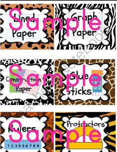 Jungle / Safari Theme Classroom Supplies Labels from KinderKuties on TeachersNotebook.com (7 pages)  - This is a set of classroom supplies labels for a safari / jungle theme classroom. Labels have animal print borders which include: tiger, leopard, zebra, and snake prints along with words and pictures of school supplies.    Includes 28 Supply Labels and 2 bl