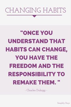 Changing Habits: Are you looking for ways to be happier and more productive? Think about changing some key habits. Learn more and get a great book recommendation. // SimplifyDays.com