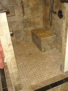 curbless shower bathroom designs   Traditional Bathroom curbless ...
