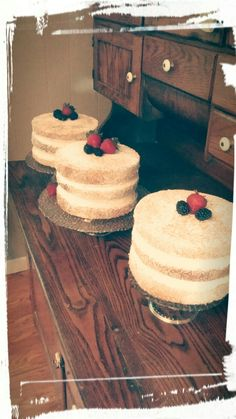 Naked Mixed Berry Cakes with Buttercream