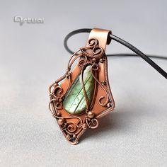 Wire wrapped Labradorite pendant wire wrap jewelry by Artual