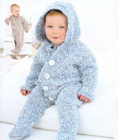 Knit Baby Jumper and Hoodie Vintage Pattern knitting onsie jumpsuit snow suit pullover retro girl boy aran jumper pdf digital download
