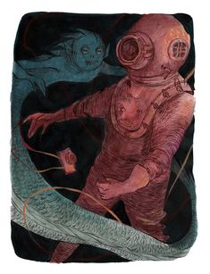 Mermay - The Diver's Descent - Kerilynn Wilson Illustration