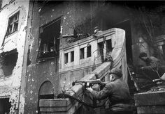 Soviet soldiers of the Infantry Division engage in street battle with German troops during the Siege of Breslau. The siege was a three month long battle for of the city of Breslau in Lower Silesia, Germany lasting until the end of the war in. Ww2 Pictures, Ww2 Photos, Rare Photos, Photographs, Soviet Army, Military Units, Red Army, War Machine, World War Two