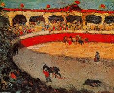 """""""The Corrida"""".Artist: Pablo Picasso Completion Date: 1901 Style: Post-Impressionism Period: Early Years Genre: genre painting Technique: oil Material: canvas Gallery: Private Collection. Kunst Picasso, Picasso Art, Picasso Paintings, Picasso Prints, Spanish Painters, Spanish Artists, French Artists, Toro Picasso, Georges Braque"""