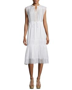 Sleeveless+Pintucked+Lace-Trim+Midi+Dress,+White+by+Rebecca+Taylor+at+Neiman+Marcus.