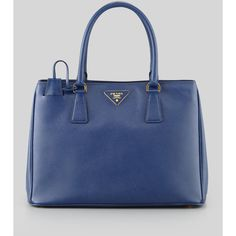 Prada Saffiano Gardener's Tote Bag ($2,050) ❤ liked on Polyvore featuring bags, handbags, tote bags, blue, blue leather tote bag, leather handbag tote, leather tote bags, leather tote handbags e leather purse