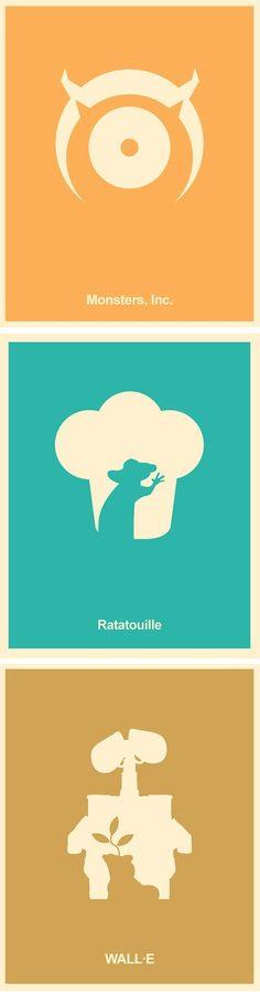 Pixar Minimalist Poster Set – Monsters Inc,  Wall-E, Ratatouille