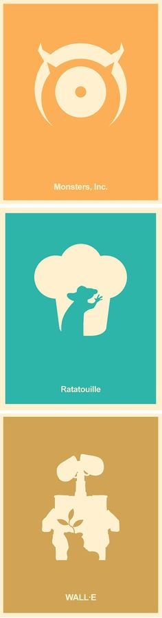 Pixar Minimalist Poster Set – Monsters Inc,  Wall-E, Ratatouille