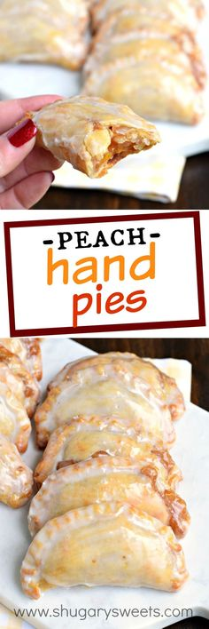 Shugary Sweets Easy Baked Peach Hand Pies Recipe and Video Dessert is ready in 30 minutes with these Glazed Peach Hand Pies! The flaky crust and spicy cinnamon filling are the perfect combo in a hand pie, plus they're baked not fried! Köstliche Desserts, Dessert Recipes, Plated Desserts, Italian Desserts, Easter Desserts, Lemon Desserts, Recipes Dinner, Baked Peach, Fried Pies