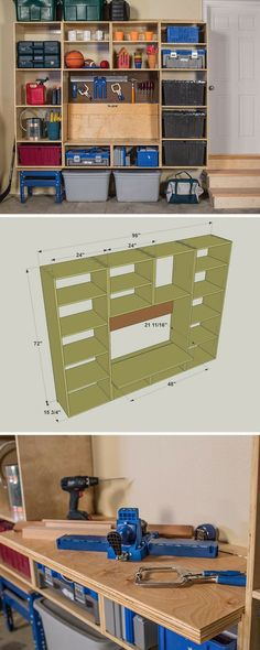Need more space in your garage? This storage unit packs almost 40 feet of shelving into a package that's just 8' wide by 6' tall. Plus it's equipped with a fold-down workbench and a pegboard area for hanging tools. Best of all, it's built from four sheets of plywood and a couple of 1x2 boards. Get the free DIY plans at buildsomething.com