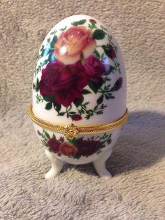 Ceramic Egg Shaped Three Footed Hinged Trinket Box W/ Roses