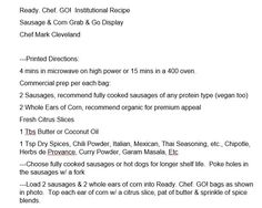 Recipe for Sausages & Corn in Ready.Chef.Go! Bag