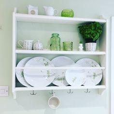 Stenstorp IKEA plate rack in a green and white kitchen. Shelfie. Shelf love.