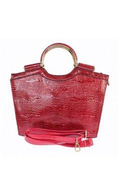 Scelta e borse da donna, effetto pelle di coccodrillo, da donna, borsetta con dettagli in rosso, colore: Rosso