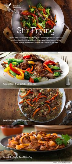 Stir-frying is a tasty, time-saving way to serve up the protein and nutrients of beef with a variety of vegetables and flavors. Try one of our inspired recipes tonight for an easy, one-dish meal.