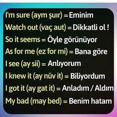 Learn Turkish Language, Arabic Language, English Exam, Learn English, English Words, English Grammar, Turkish Lessons, Common Phrases, English Reading