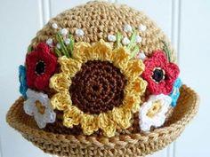 CROCHET FLOWER HAT (130 pieces)