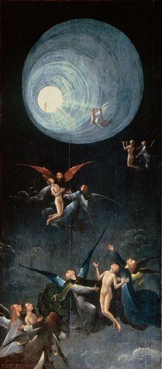Hieronymus Bosch, Ascensión al paraíso celestial; Entre 1490 y 1516, Óleo sobre tabla, 86,5cmx39,5cm; Ubicación actual: Institución: Palazzo Grimani , Venecia.